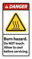 Gefahr Verbrennungsgefahr Sicherheit Berühren Sie nicht das Etikett auf dem weißen Hintergrund vektor