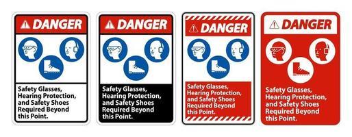 Warnschild Schutzbrille Gehörschutz und Sicherheitsschuhe über diesen Punkt hinaus auf weißem Hintergrund erforderlich vektor