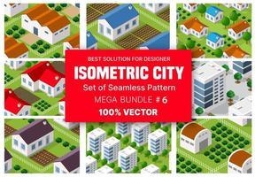 isometrisk uppsättning blockmodul av områden i stadskonstruktionen och utformningen av perspektivet stadsdesign för stadsmiljön vektor