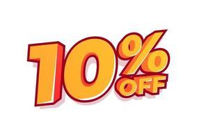 10 Prozent Rabatt auf den Verkaufstag. Verkauf von Sonderangeboten. Rabatt mit dem Preis beträgt 10 Prozent. vektor