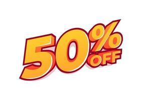 50 Prozent Rabatt auf den Verkaufstag. Verkauf von Sonderangeboten. Rabatt mit dem Preis beträgt 50 Prozent. vektor