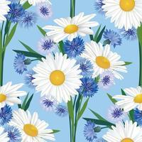 nahtloses Blumenmuster. Blumenhintergrund. gedeihen Garten Textur mit Blumen Kamille und Kornblume. vektor