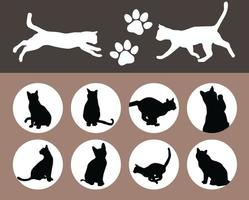 Katzen schwarze Silhouette gesetzt vektor