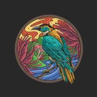schöne Vogelnaturblumenillustration vektor
