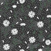 weiße Gänseblümchen auf einem nahtlosen grauen Hintergrund vektor