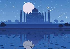 Taj Mahal Wahrzeichen von Indien in der Nacht vektor