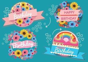 bunter Geburtstags-Hintergrundillustrationsentwurf für Karte vektor