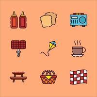 Gegenstände, die Sie beim Picknick mitbringen sollten vektor