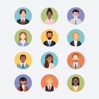 affärsmän och kvinnor avatar ikoner vektor