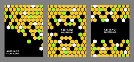 schwarze abstrakte Plakate mit bunten Kämmen oder Sechsecken vektor