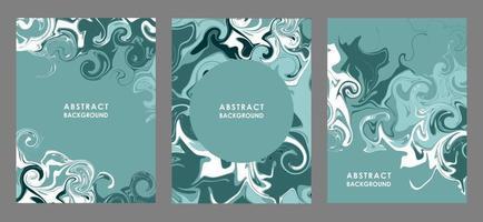 eine Reihe von abstrakten Flugblättern mit blauen und weißen Streifen. stilisierte türkisfarbene Meereswellen vektor