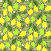 sömlös grå bakgrund med citronfrukt och blad vektor