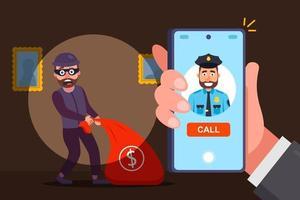 Anruf bei der Polizei wegen Räuberkonzepts vektor