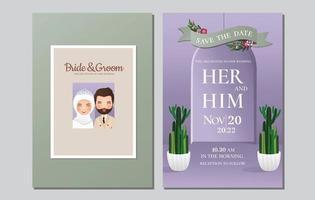 Hochzeitseinladungskarte die Braut und der Bräutigam niedliche muslimische Paarkarikatur mit grünem Kaktus vektor