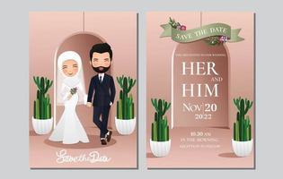 bröllopinbjudningskort bruden och brudgummen söta muslimska par seriefigur med grön kaktus och ljusrosa bakgrund. vektorillustration vektor