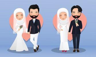 uppsättning karaktärer söt muslimsk brud och brudgum. vektorillustration i par tecknad i kärlek vektor