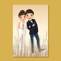 bröllop inbjudningskort bruden och brudgummen söt par tecknad med landskap vacker bakgrund vektor