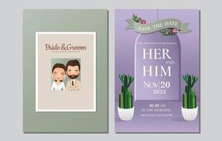 bröllop inbjudningskort bruden och brudgummen söta par seriefigur. vektorillustration. vektor