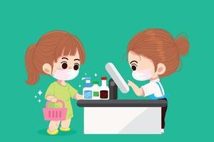 süße Frau in medizinischen Masken beim Einkaufen in der Supermarktkarikaturkunstillustration vektor