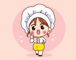 niedliches Kochmädchen, das in der Uniform lächelt und Daumen hoch Karikaturkunst gibt vektor