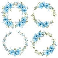 Aquarell handbemalter blauer Anemonenblumenkranzrahmen vektor