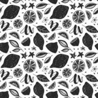 weißer Hintergrund mit schwarz gemalten Zitrusfrüchten und Blättern vektor