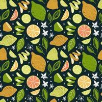 dunkelgrüner Hintergrund mit hellen Zitrusfrüchten und Blättern vektor