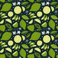 sömlösa mönster med limefrukter och blad vektor