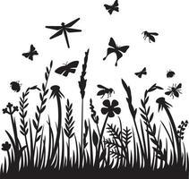 Gras und Insekten vektor