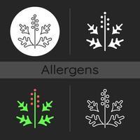 ragweed pollen mörk tema ikon vektor