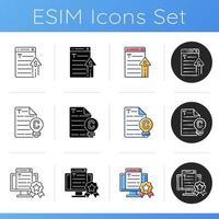 Icons für professionelle Copywriting-Services festgelegt vektor