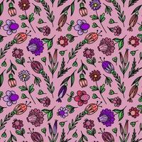 sömlös blommig bakgrund med stiliserade färger vektor