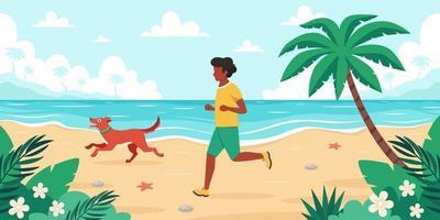 Freizeit am Strand. schwarzer Mann, der mit Hund joggt. Sommerzeit. Vektorillustration vektor