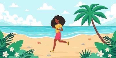 Freizeit am Strand. schwarze Frau beim Joggen. Sommerzeit. Vektorillustration vektor