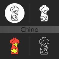 Cheongsam mörkt tema ikon vektor