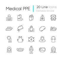 medicinska ppe linjära ikoner set vektor