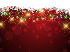Weihnachtslichter und Schneeflockenhintergrund vektor