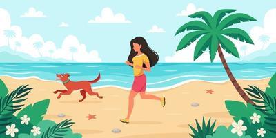 Freizeit am Strand. Frau, die mit Hund joggt. Sommerzeit. Vektorillustration vektor
