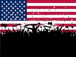 Party Menge auf einem Hintergrund der amerikanischen Flagge