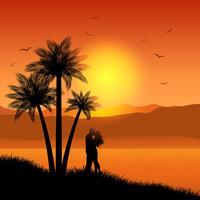 Kyssande par i tropiskt landskap