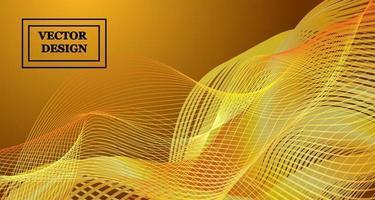 vektor bakgrundsbild av linjer som vrider sig i en viss ordning och skapar ett mönster i guld nyanser i form av trådar