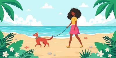 Freizeit am Strand. schwarze Frau, die mit Hund geht. Sommerzeit. Vektorillustration vektor