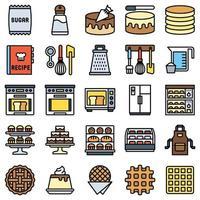 bageri och bakerelaterad fylld ikonuppsättning 4 vektor
