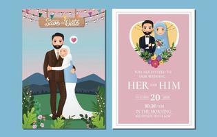 glücklich liebende muslimische Paarkarikatur, die draußen mit schönem Hintergrund der Landschaft umarmt vektor