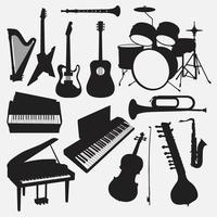 Musikinstrumente Illustration Vektor-Design-Vorlagen gesetzt vektor