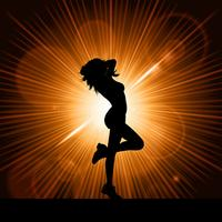 Sexig kvinnlig på starburst bakgrund
