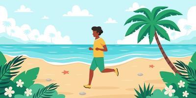 Freizeit am Strand. schwarzer Mann beim Joggen. Sommerzeit. Vektorillustration vektor