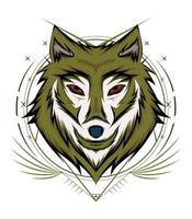 Wolfsgesicht Logo Design. Wolfsmaskottchen. frontales symmetrisches Bild des Wolfes, der cool aussieht. Kopfwölfe Illustration vektor