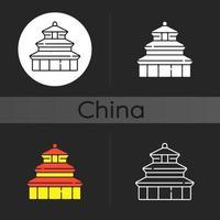 himmelens tempel mörka tema ikon vektor