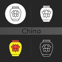 kinesisk porslin mörk tema ikon vektor